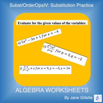 Substitution/ Order of Operations IV: Substitution Practice