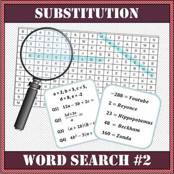 Algebra - Substitution Word Search Worksheet #2