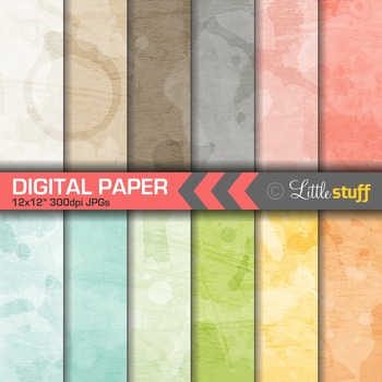 Subtle Watercolor Digital Papers, Water Colour Digital Bac