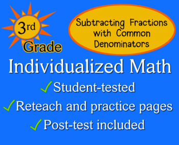 Subtract Fractions (Common Denominator), 3rd grade - Indiv