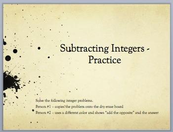 Subtract Integers - Partner Practice