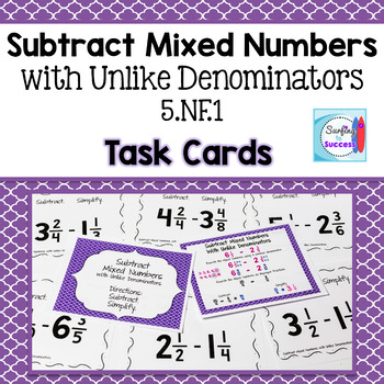 Subtract Mixed Numbers with Unlike Denominators Then Simplify