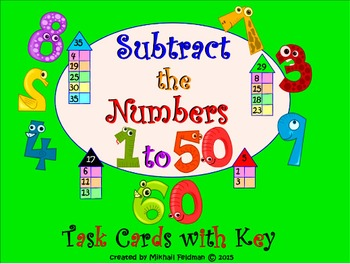Subtraction Of Numbers (1 to 50): 60 Long Task Cards: Test