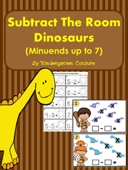 Subtract The Room Dinosaurs (Minuends up to 7)