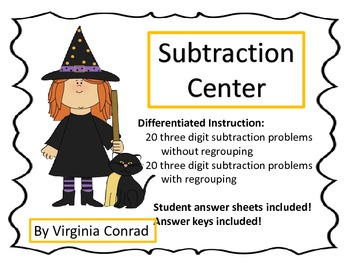 Subtract Three Digit Numbers---with & without borrowing--H