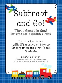 Subtract and Go! -3 Games in 1- Transportation Theme- CC Aligned