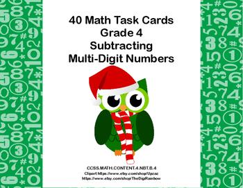 Subtractibg Multi-Digit Numbers- CCSS 4.NBT.B.4-Task Cards