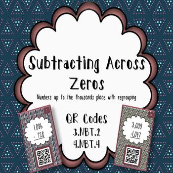 Subtracting Across Zeros QR Task Cards