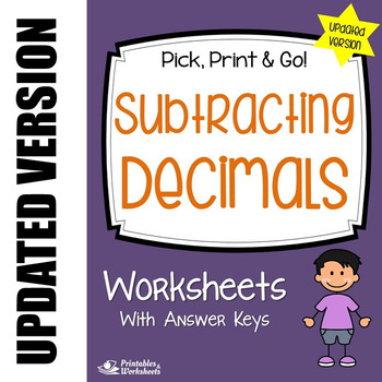 Decimal Subtraction Worksheets (Updated Version), Practice
