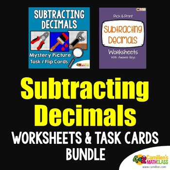 Subtracting Decimals Task Cards and Worksheets