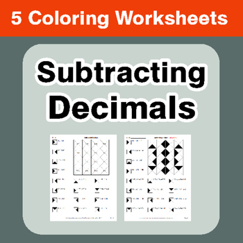 Subtracting Decimals - Coloring Worksheets