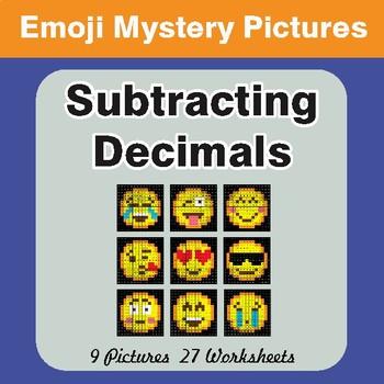 Subtracting Decimals EMOJI Mystery Pictures