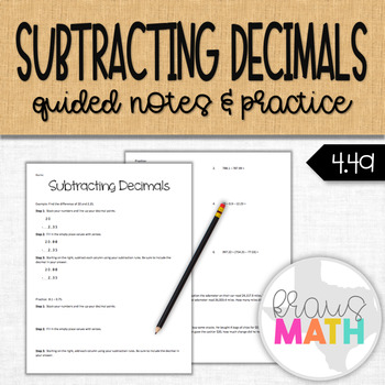 Subtracting Decimals Notes and Practice