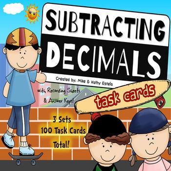 Subtracting Decimals Task Cards {Multiple Choice, Standard