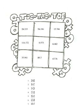 Subtracting Decimals Tic-Tac-Toe