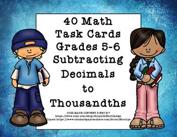 Subtracting Decimals to Thousandths-Grades 5-6-Task Cards-