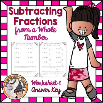 Subtracting Fraction from a Whole Number Practice Worksheet