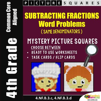 Subtracting Fractions Word Problems Mystery Pictures