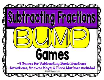 Subtract Fractions Games with Answer Keys {4 Differentiate