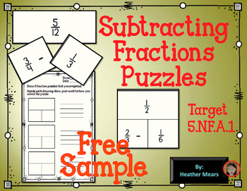 Subtracting Fractions Puzzle sample