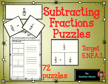 Subtracting Fractions Puzzles