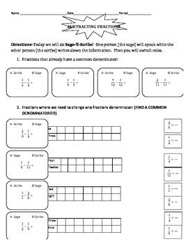 Subtracting Fractions Sage-N-Scribe