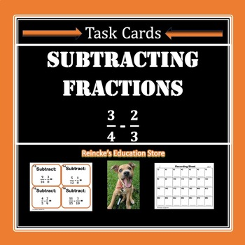 Subtracting Fractions Task Cards (28 cards!)