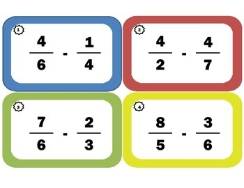 Subtracting Fractions Task Cards: Fraction Subtraction wit