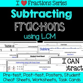 Subtracting Fractions Unit -Pretest, Post-test, Poster, Ch