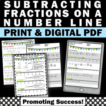 subtracting fractions on a number line worksheets 4th 5th grade