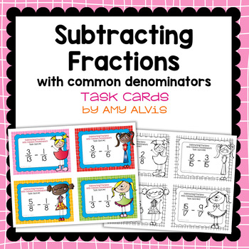 Fraction Task Cards - Subtracting Fractions with Common De