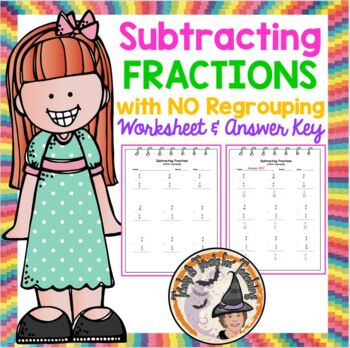 Subtracting Fractions with NO Regrouping Worksheet Practic
