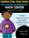 Subtracting Fractions with Unlike Denominators - Math Center