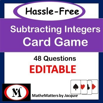 Subtracting Integers: EDITABLE {7.NS.A.1c CCSS} Chaos-Free