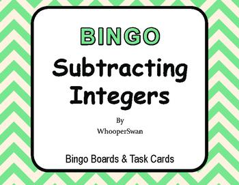 Subtracting Integers BINGO and Task Cards