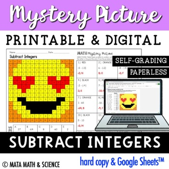 Subtracting Integers - Color + Solve Mystery Picture (Emoji)