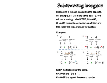 Subtracting Integers Foldable