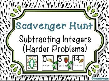 Subtracting Integers - Scavenger Hunt (Harder Problems)