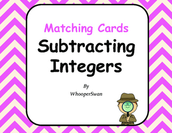 Subtracting Integers Matching Cards
