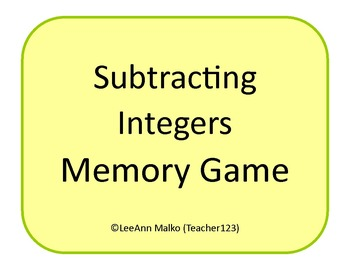 Subtracting Integers Memory Game