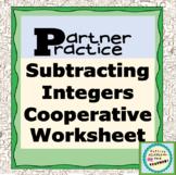 Subtracting Integers Partner Practice Worksheet