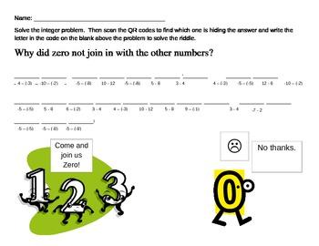 Subtracting Integers QR code Riddle