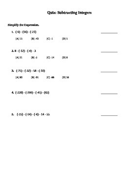 Subtracting Integers Quiz (7.NS.1;7.NS.1.a; Mathematical P