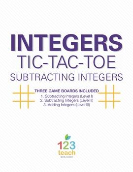 Subtracting Integers Review Activity - Partner Tic Tac Toe