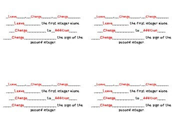 **FREEBIE** Subtracting Integers Rules for INB