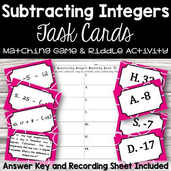 Subtracting Integers Task Cards Matching Game (with riddle)