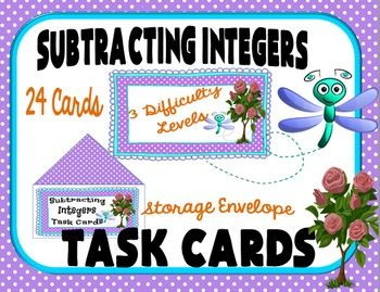 Subtracting Integers Task Cards for Classroom Games, Cente