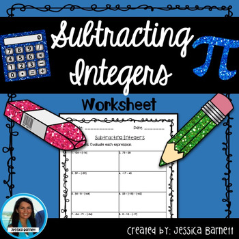 Subtracting Integers Worksheet