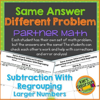 Subtracting Larger Numbers with Regrouping- Partner Activity