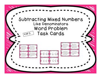 Subtracting Like Mixed Numbers Differentiated Word Problem